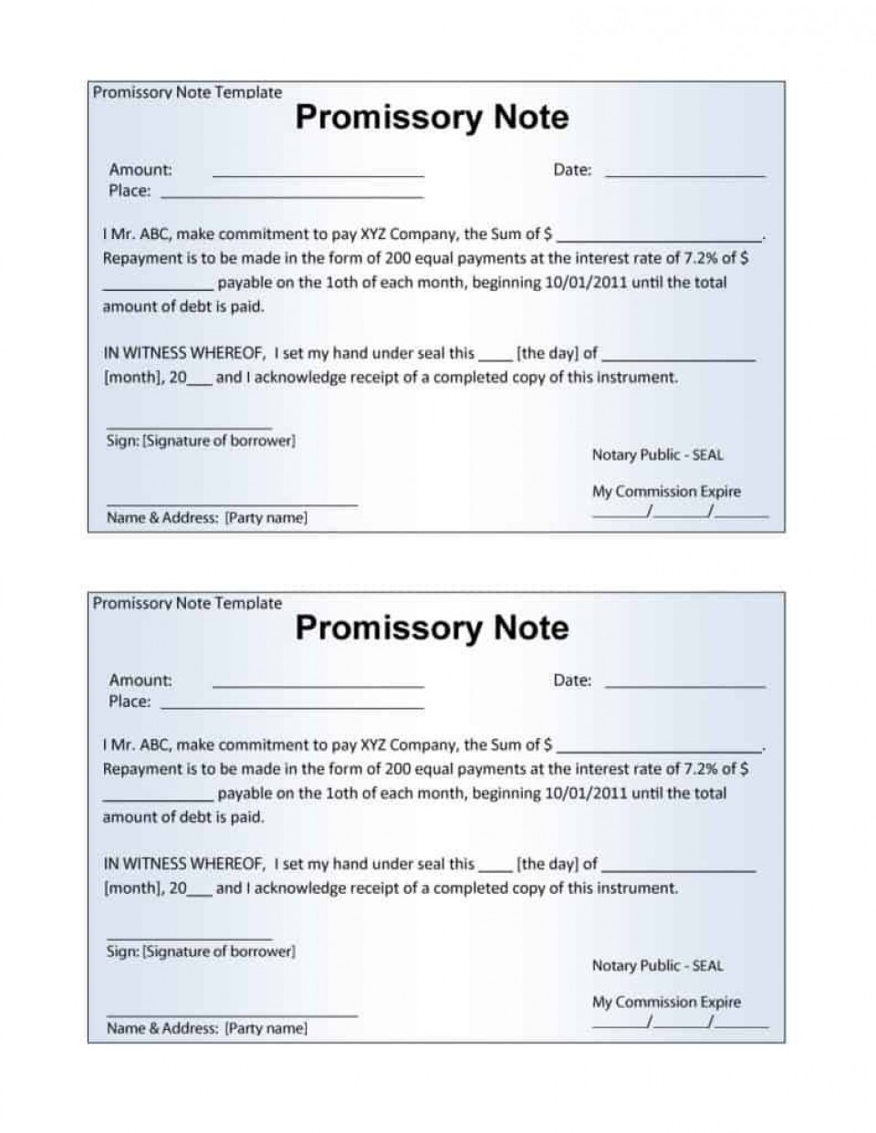 006 Stupendou Promissory Note Template Word High Definition  Form Document Free Sample960