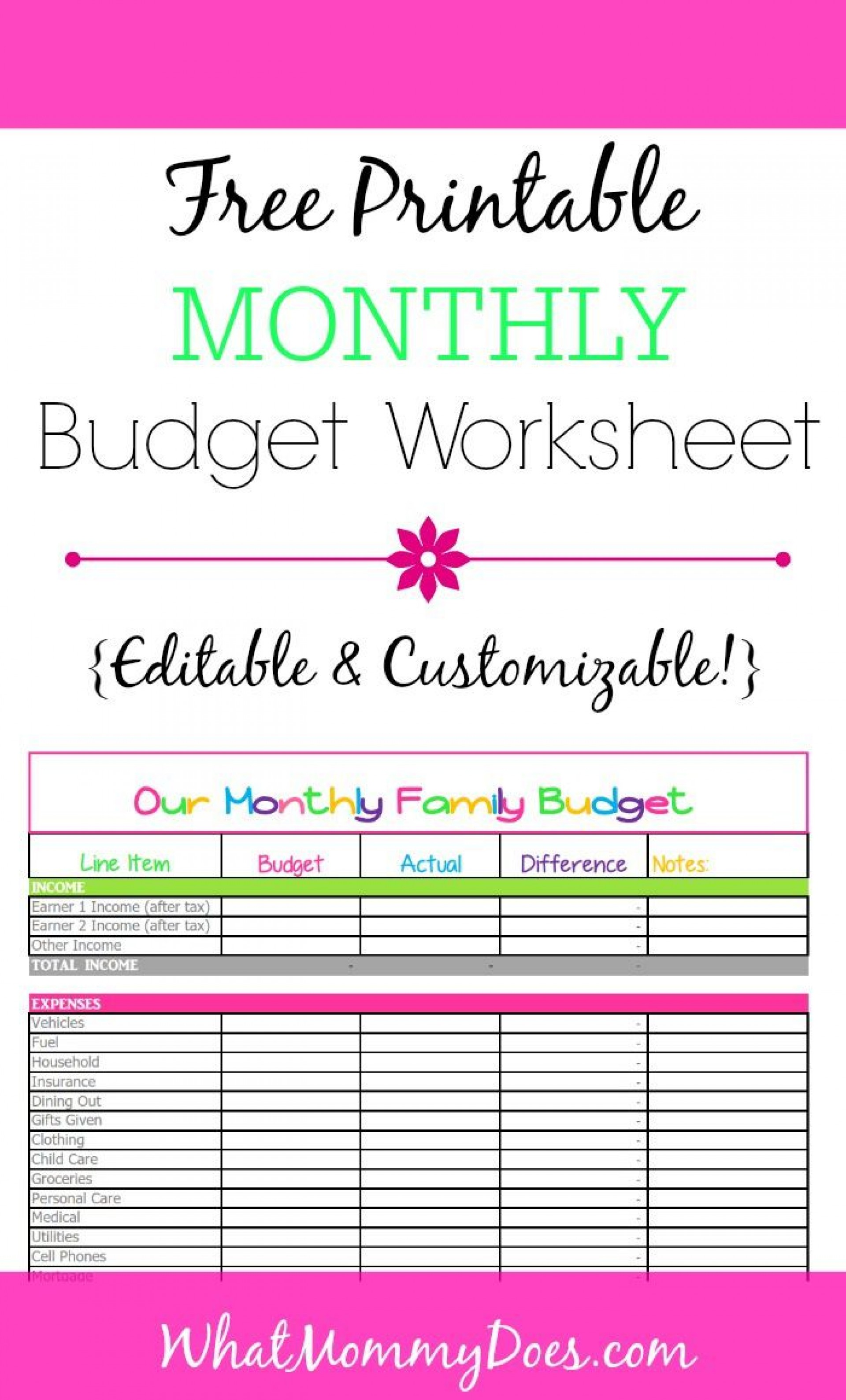 006 Stupendou Simple Monthly Budget Template Free Printable Photo 1920