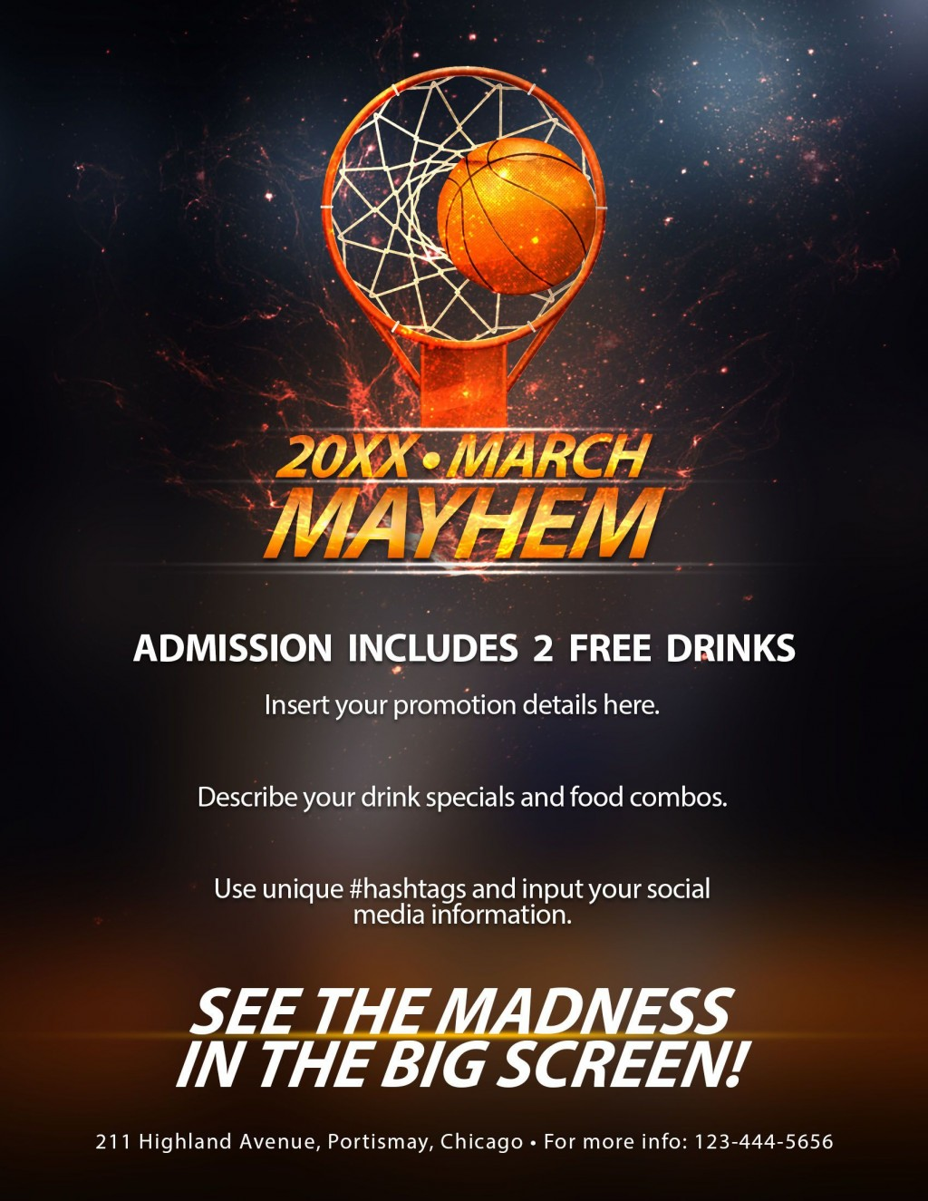 006 Surprising Free Basketball Flyer Template Design  Game 3 On Tournament WordLarge