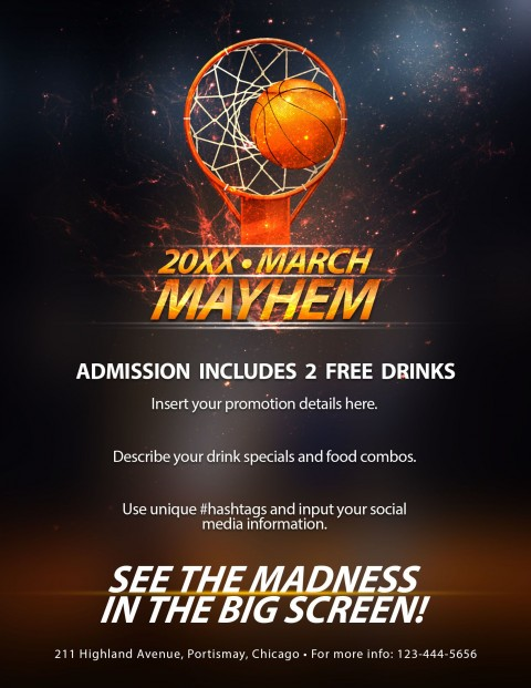 006 Surprising Free Basketball Flyer Template Design  Game 3 On Tournament Word480