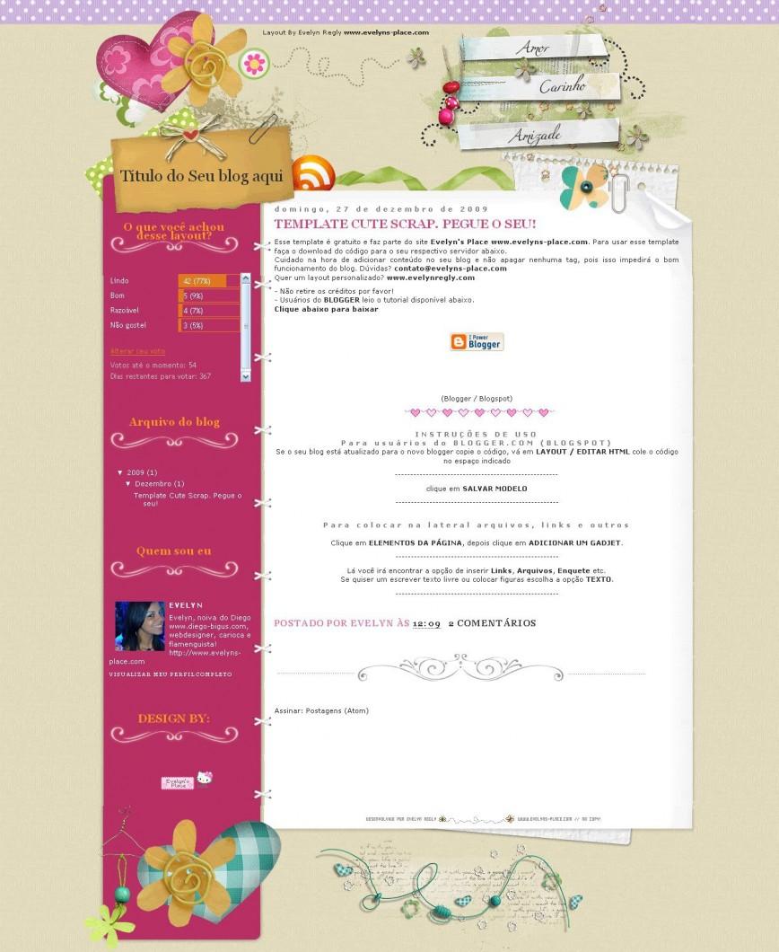006 Surprising Free Cute Blogger Template Sample  Templates