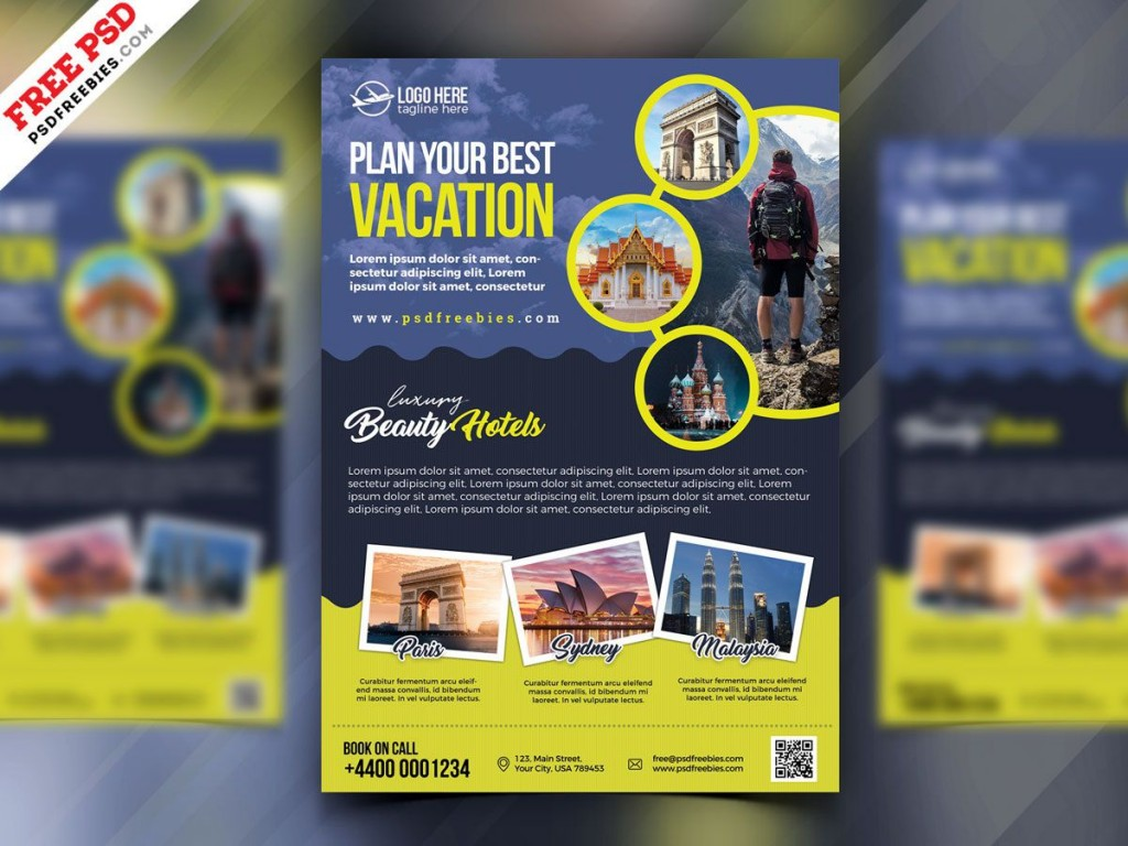 006 Surprising Free Travel Flyer Template Download Example Large