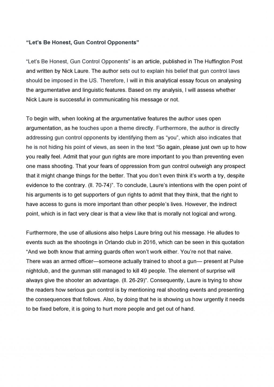 006 Surprising Gun Control Essay Idea  Anti Thesi Example Argumentative TitleLarge