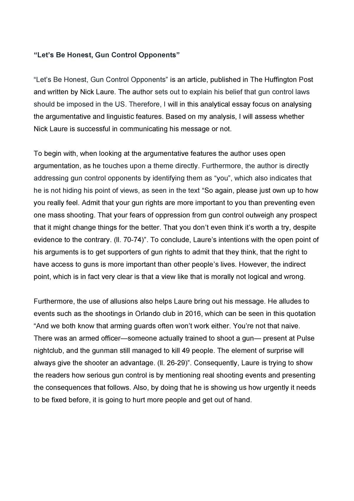 006 Surprising Gun Control Essay Idea  Anti Thesi Example Argumentative TitleFull