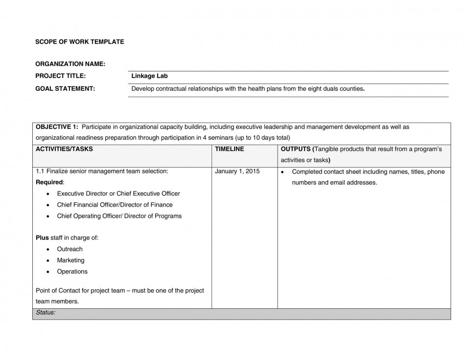 006 Surprising Statement Of Work Example Project Management Sample 960
