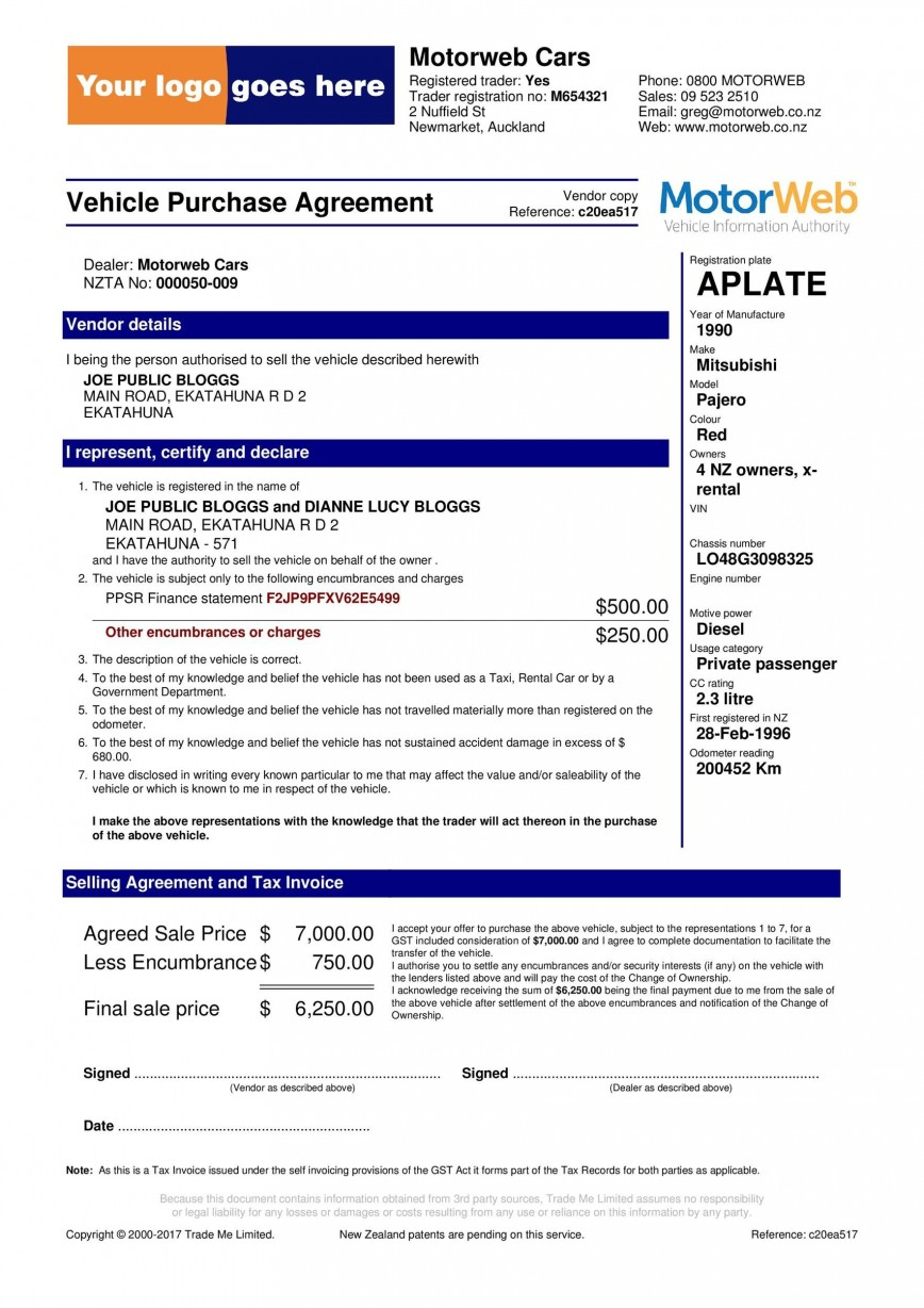 006 Surprising Vehicle Purchase Order Template Photo  Car Dealer Form