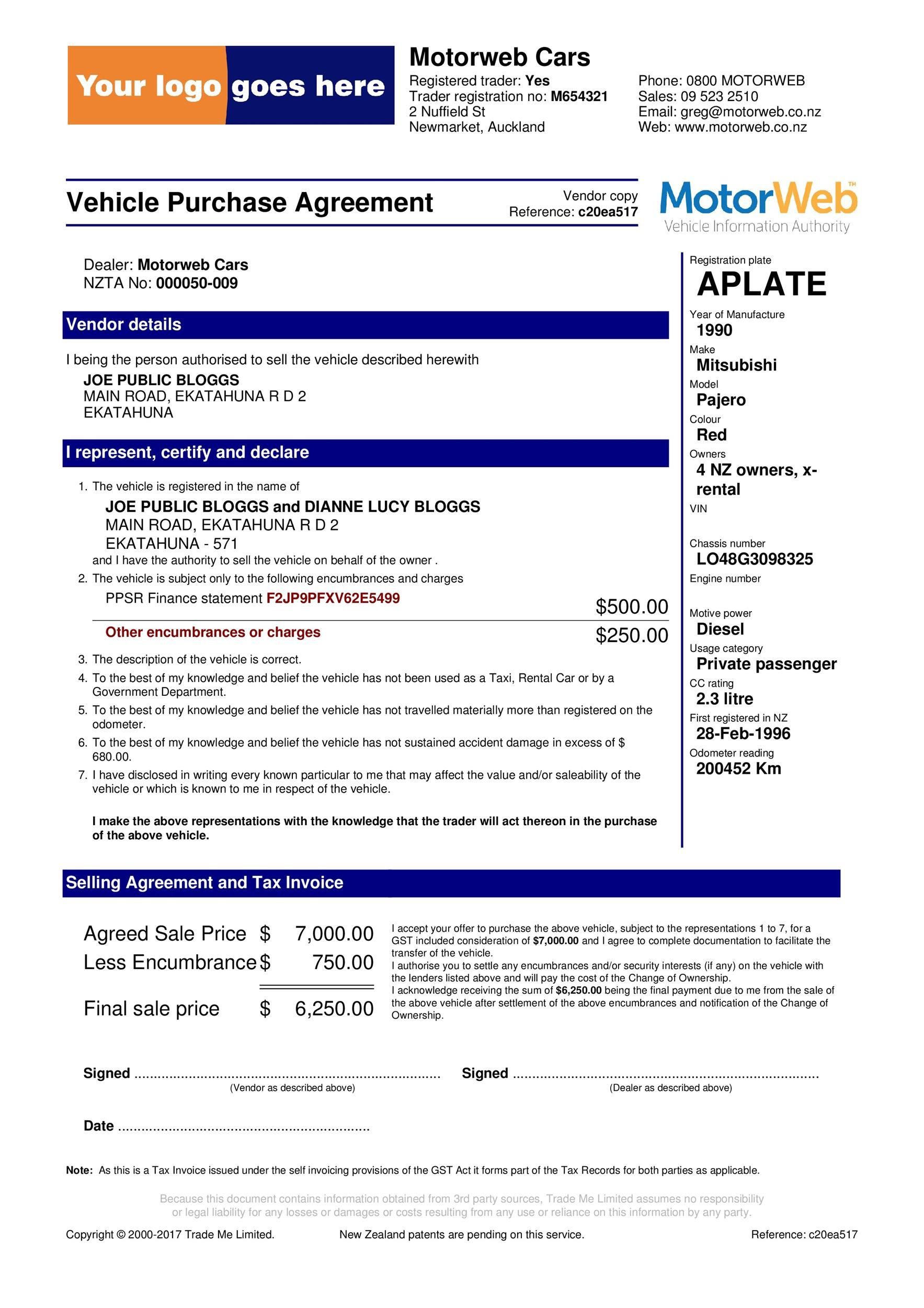 006 Surprising Vehicle Purchase Order Template Photo  Used Car MotorFull