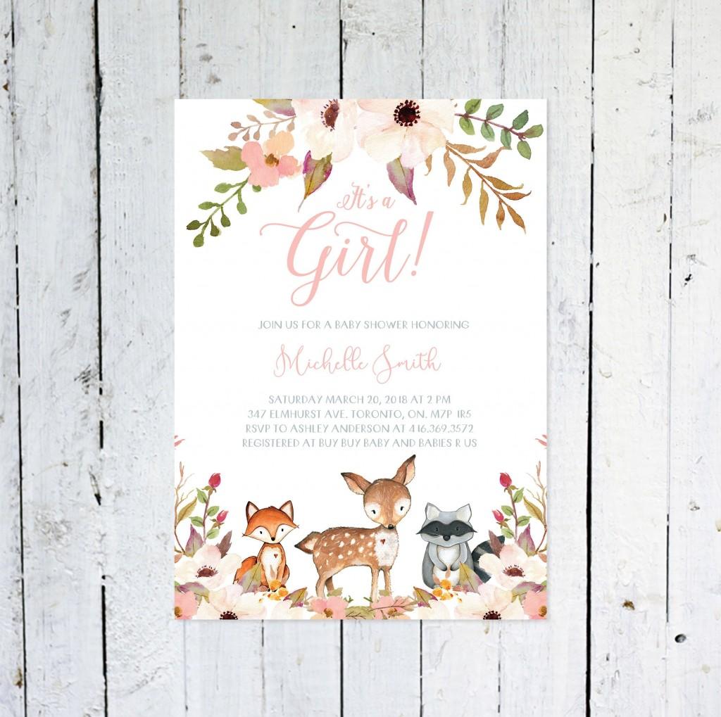 006 Top Baby Shower Invitation Girl Printable Inspiration Large