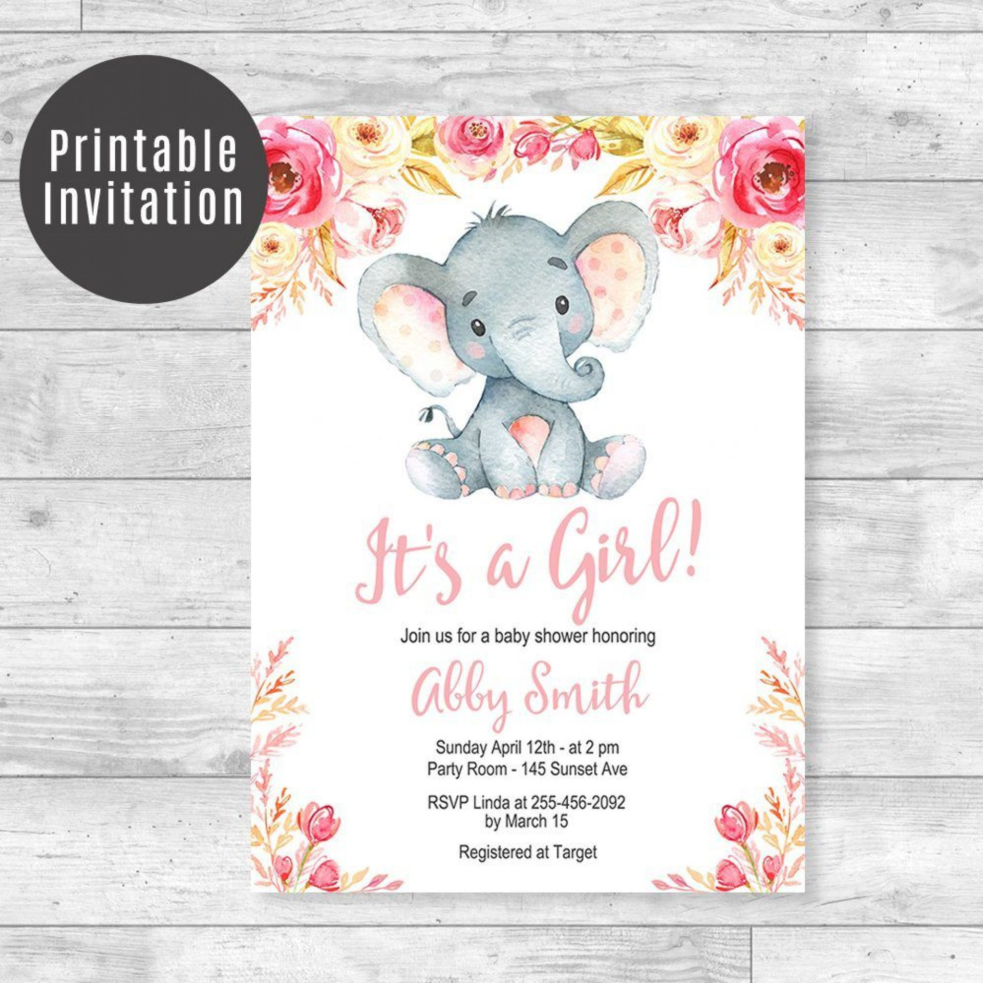 006 Top Baby Shower Invitation Girl Elephant Idea  Free Pink Template1920