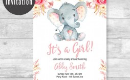 006 Top Baby Shower Invitation Girl Elephant Idea  Free Pink Template