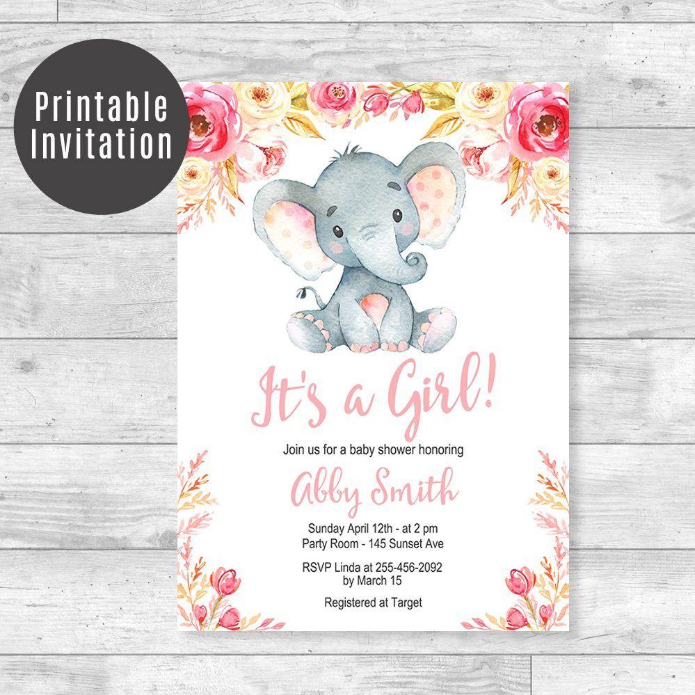 006 Top Baby Shower Invitation Girl Elephant Idea  Free Pink TemplateFull