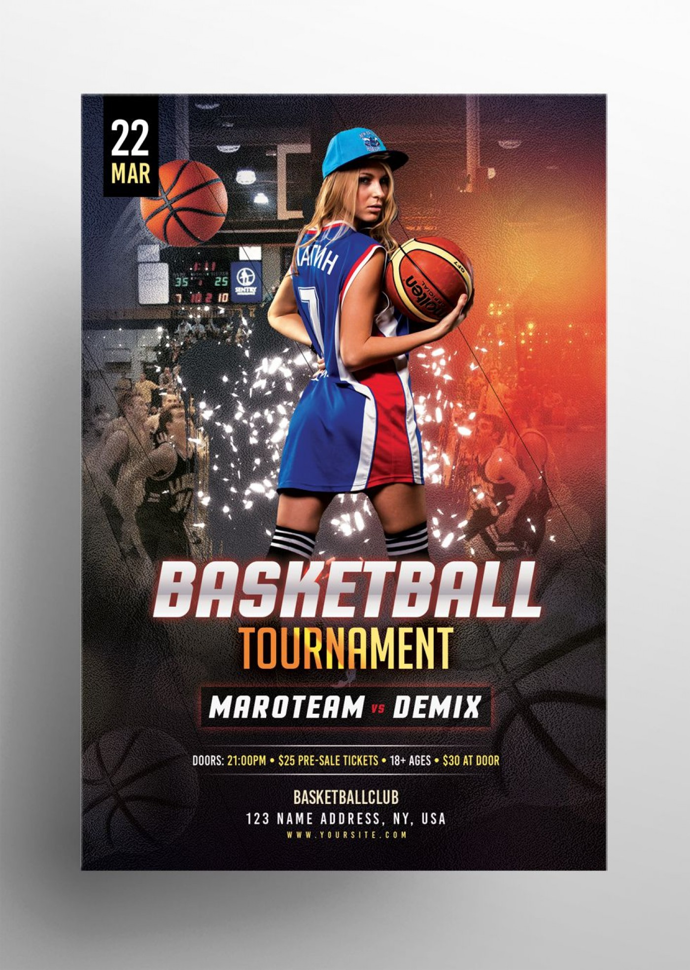 006 Top Basketball Tournament Flyer Template Photo  3 On Free1400