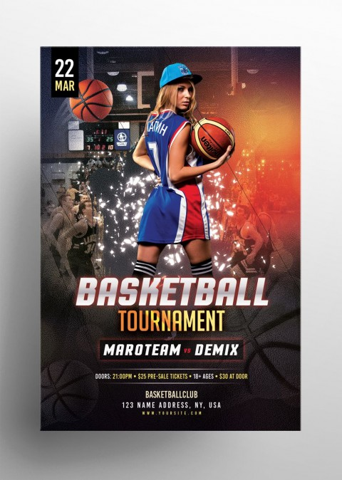 006 Top Basketball Tournament Flyer Template Photo  3 On Free480