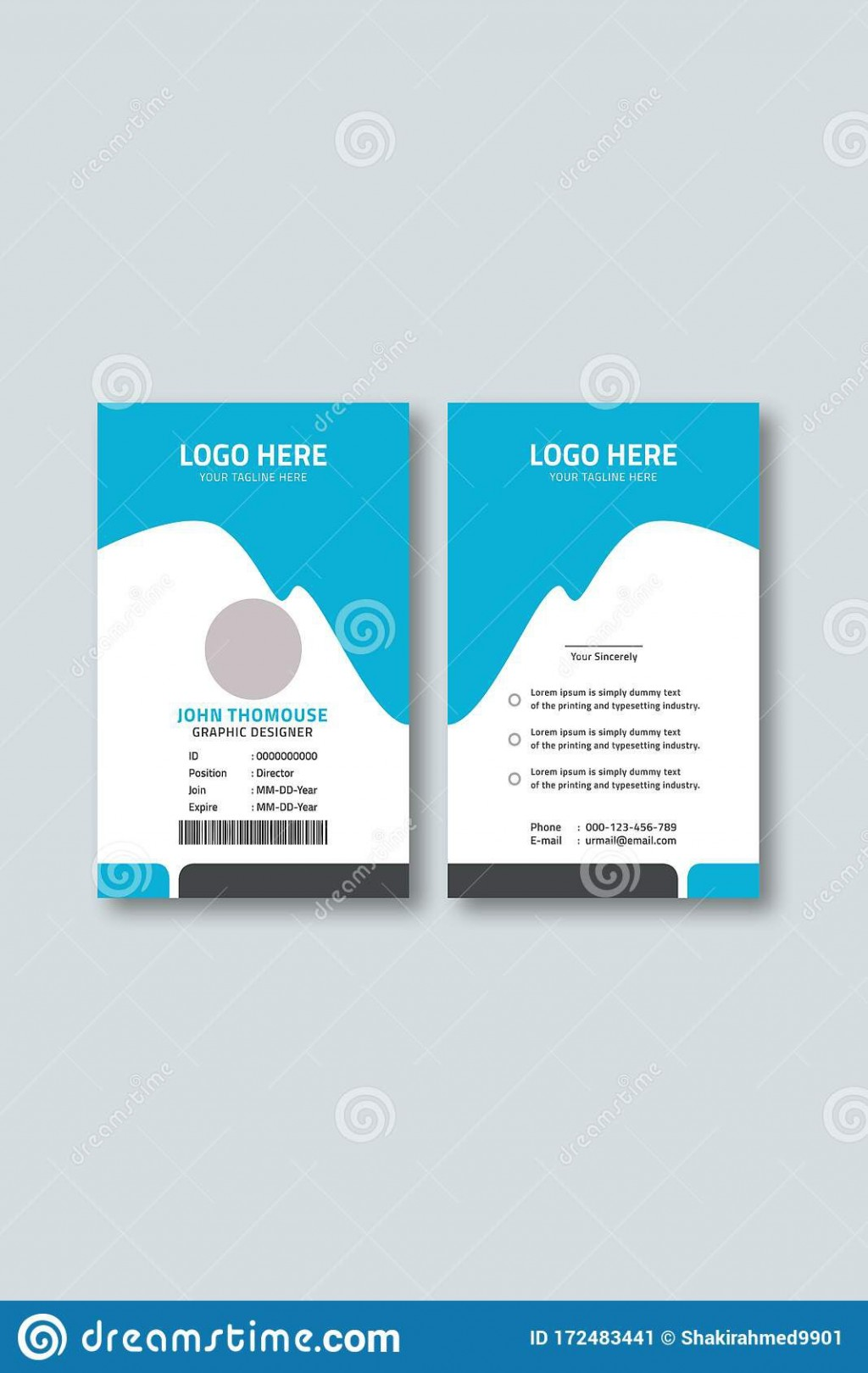 006 Top Employee Id Card Template Image  Free Download Psd WordLarge