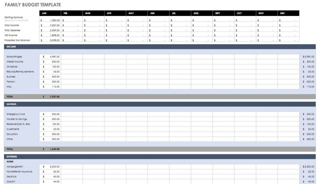 006 Top Excel Budget Spreadsheet Template Sample  Tracker Free Household MonthlyLarge
