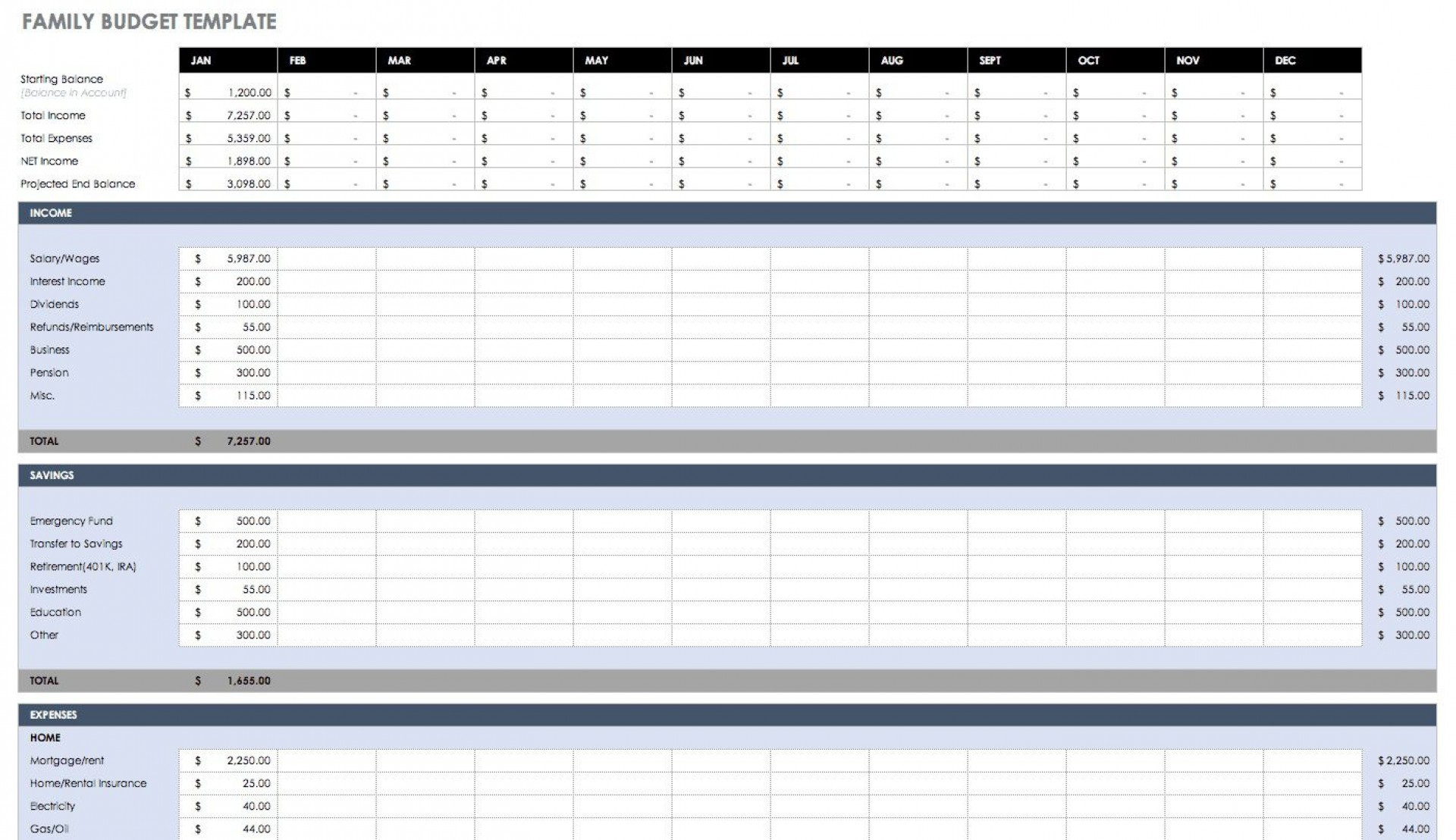 006 Top Excel Budget Spreadsheet Template Sample  Tracker Free Household Monthly1920