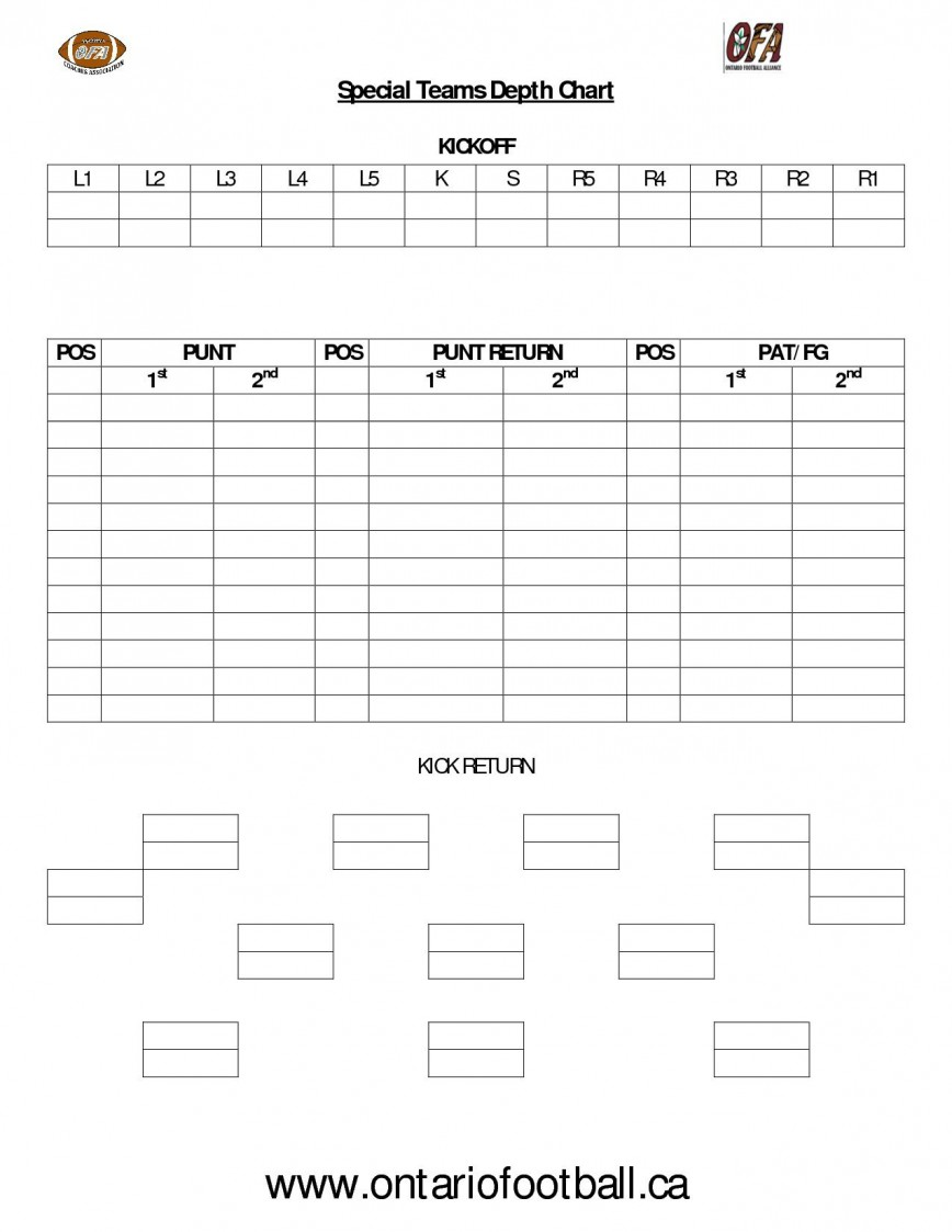 006 Top Football Depth Chart Template High Definition  Blank Free Printable
