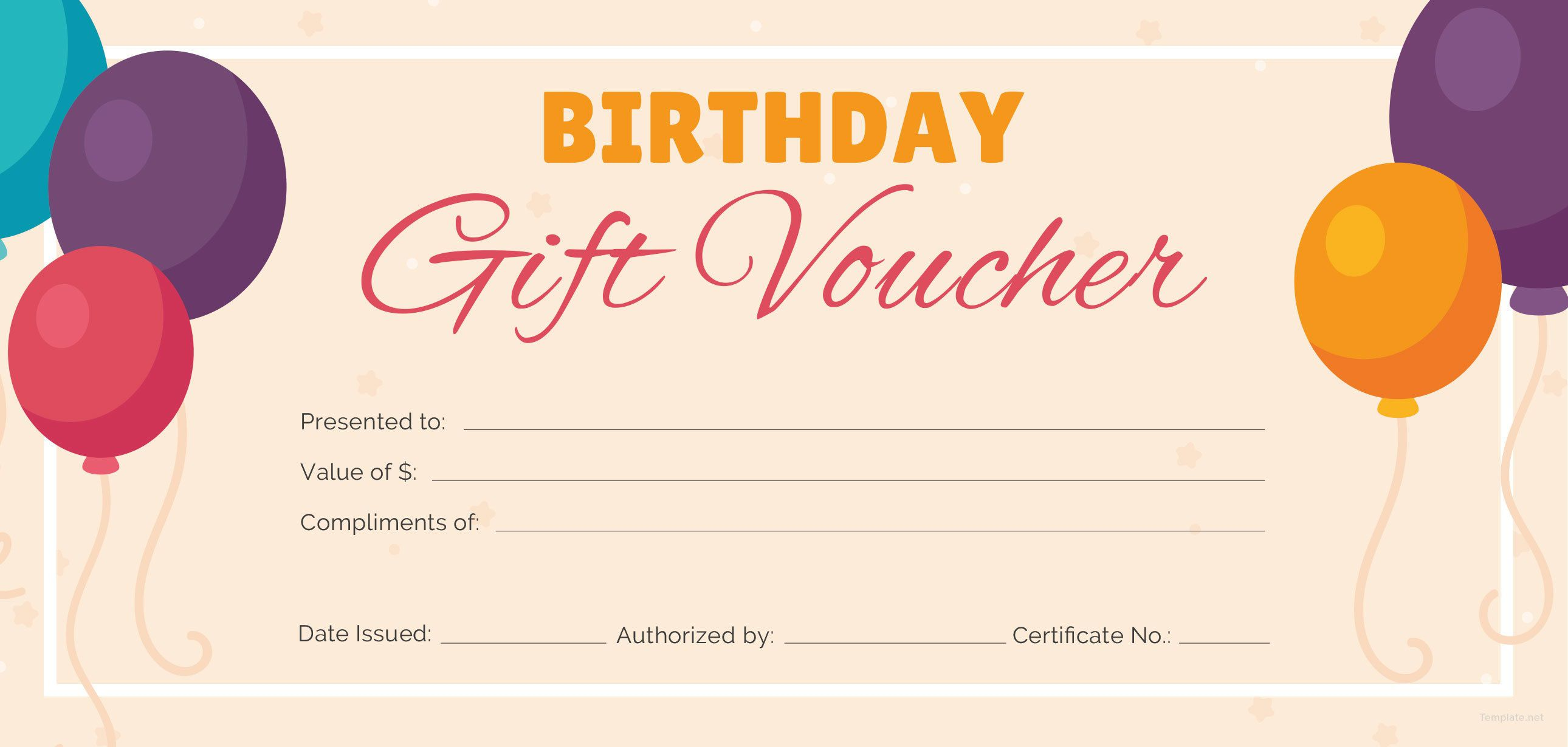 Free Birthday Gift Certificate Template Addictionary