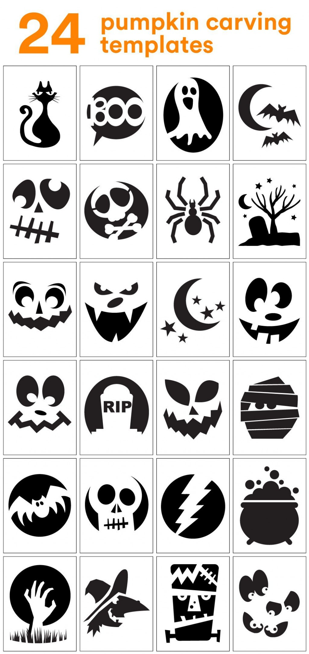 006 Top Free Pumpkin Template Printable High Resolution  Easy Carving Scary StencilLarge