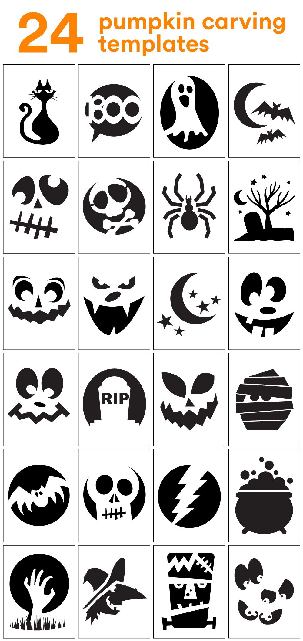006 Top Free Pumpkin Template Printable High Resolution  Easy Carving Scary StencilFull