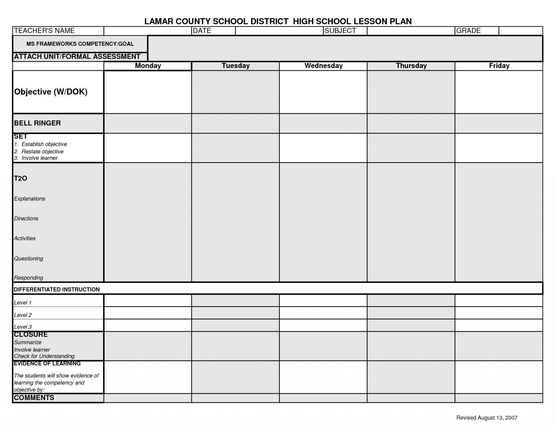 006 Top Lesson Plan Template High School Design  Secondary Sample English Science1920