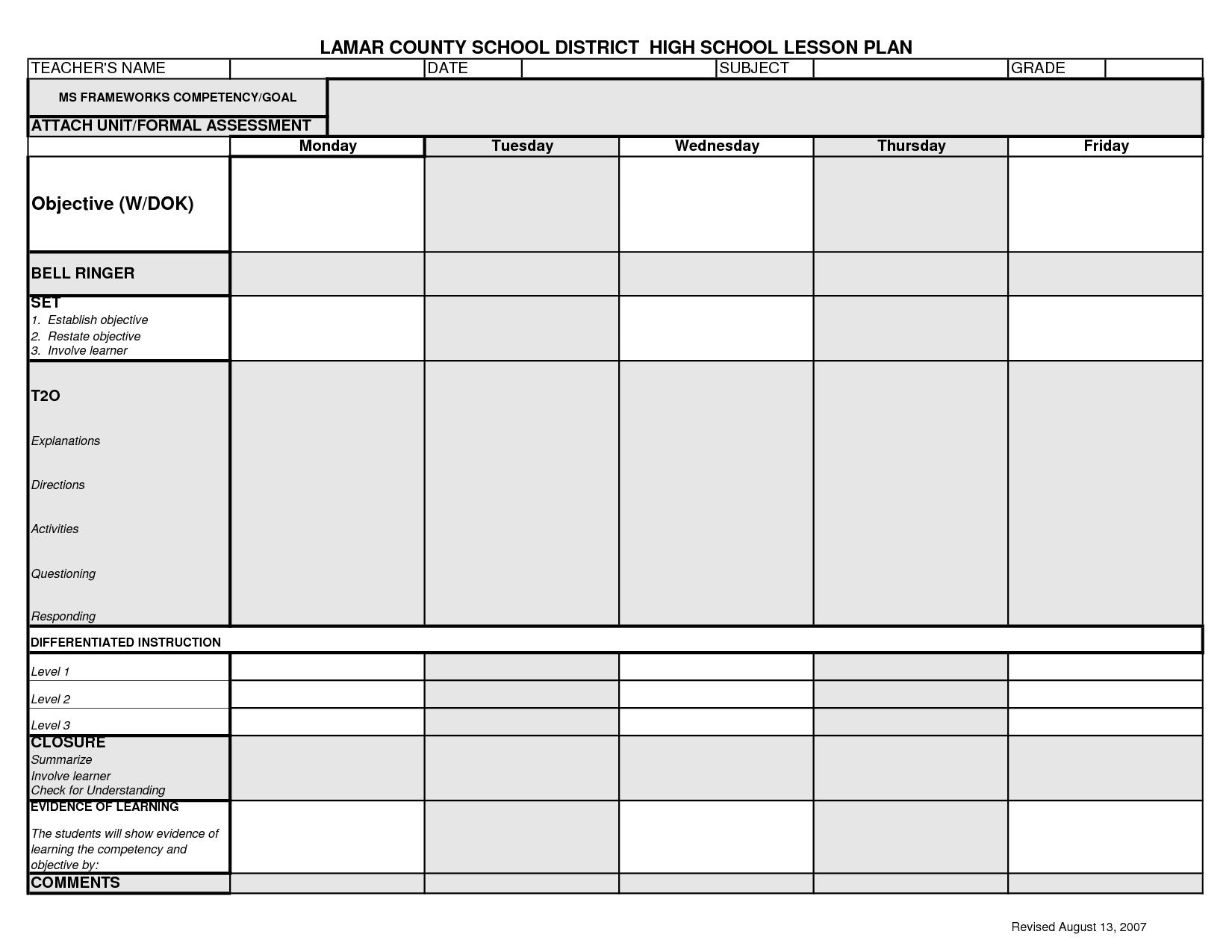 006 Top Lesson Plan Template High School Design  Secondary Sample English ScienceFull