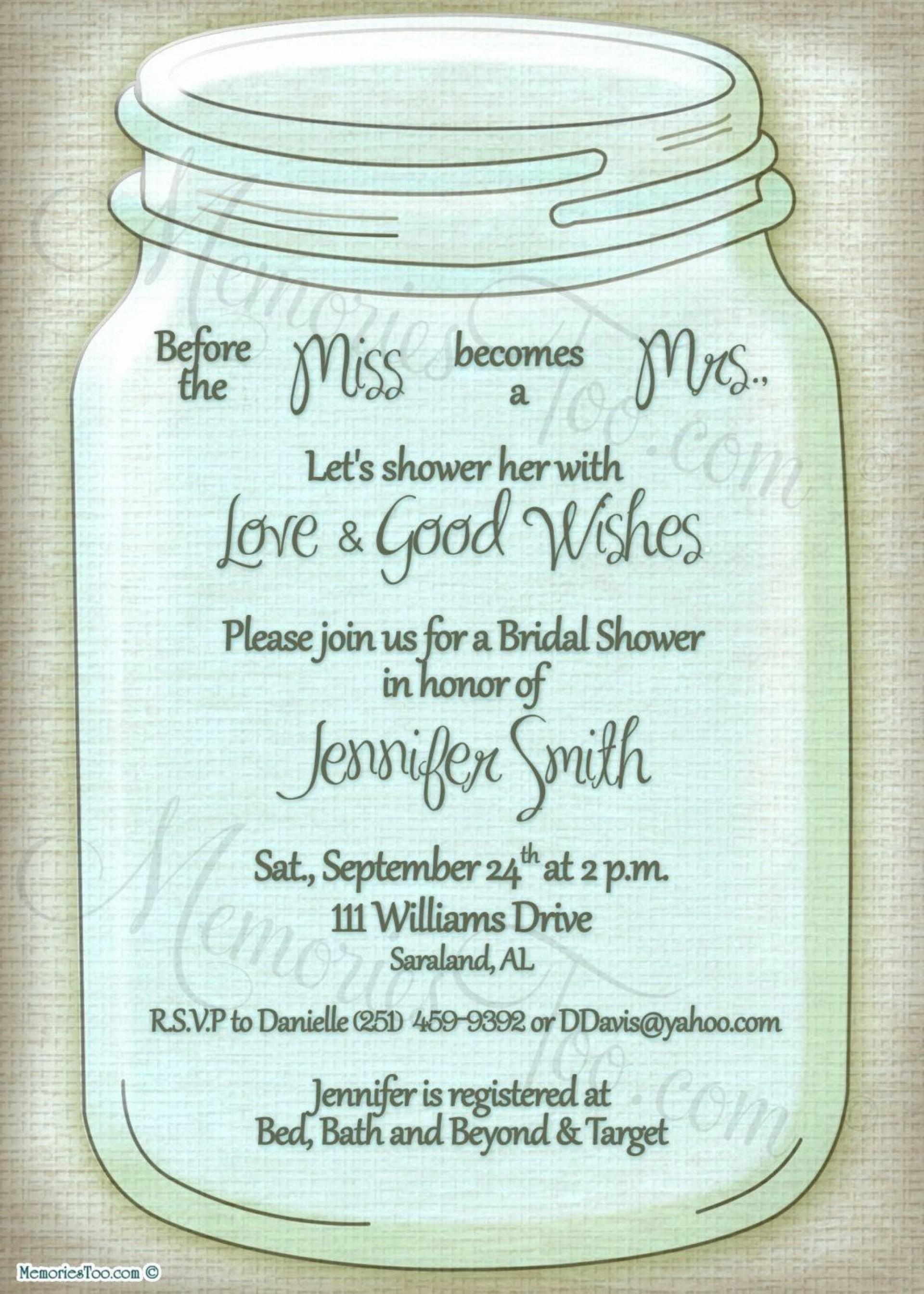 006 Top Mason Jar Invitation Template Image  Free Wedding Shower Rustic1920