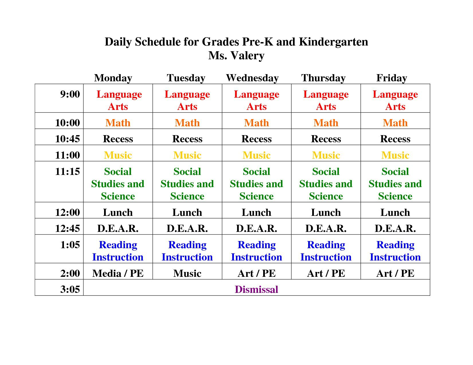 006 Top Preschool Daily Schedule Template High Def  Planner Routine PlanFull
