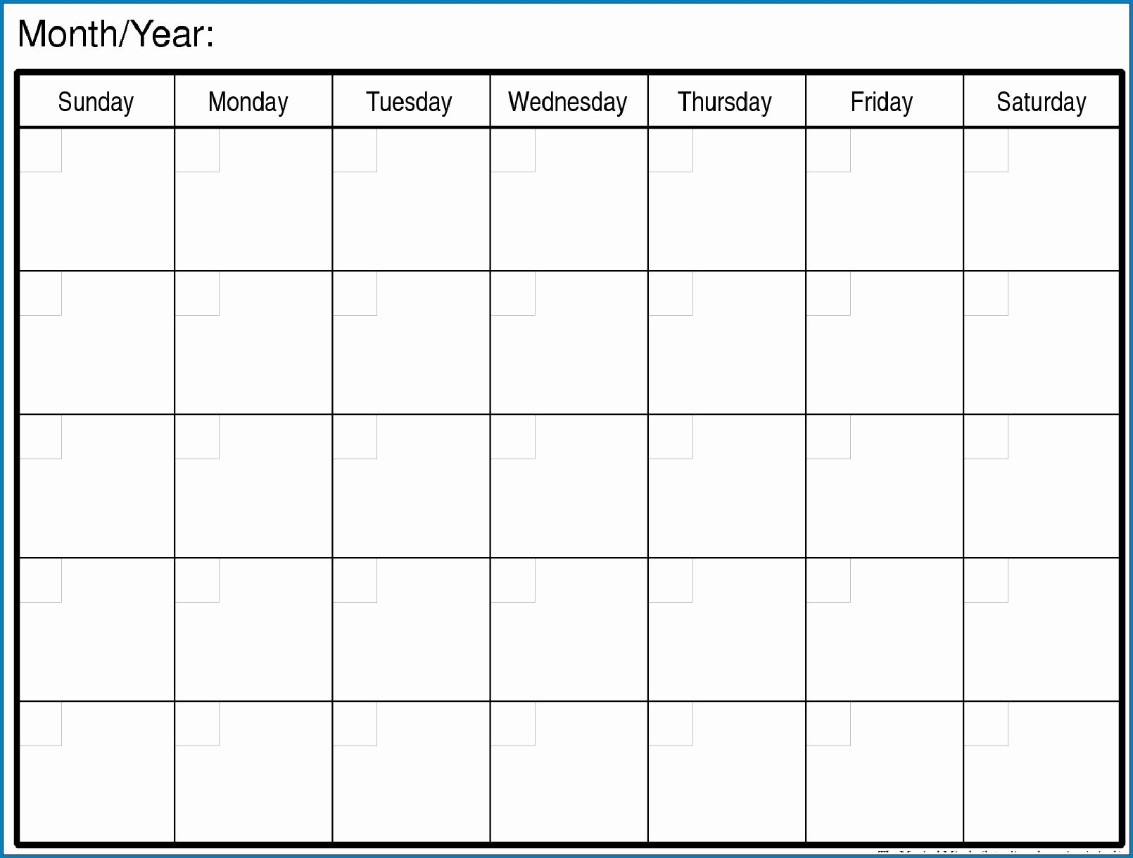 006 Top Printable Blank Monthly Calendar Template Highest Clarity  PdfFull