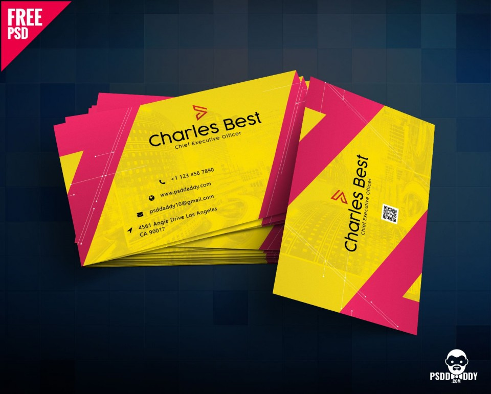 006 Top Psd Busines Card Template High Resolution  With Bleed And Crop Mark Vistaprint Free960