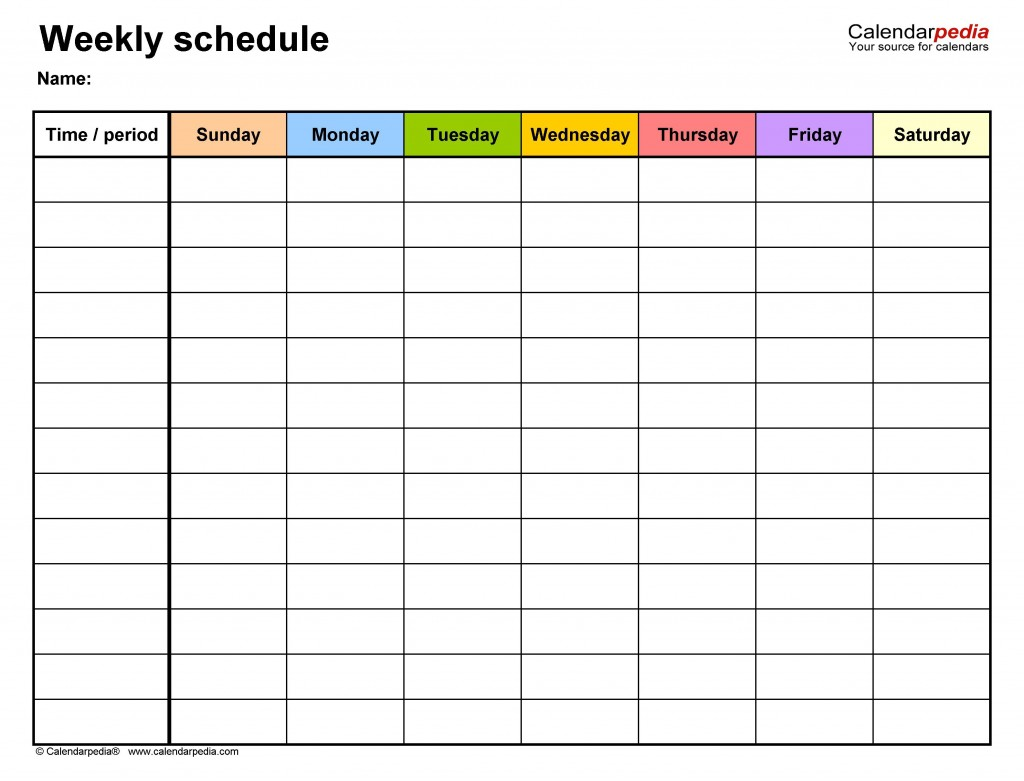 006 Top Weekly Schedule Template Pdf Image  With Time Study WorkLarge