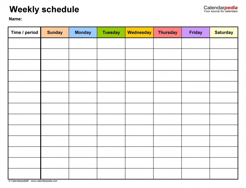 006 Top Weekly Schedule Template Pdf Image  Employee Free Work Lesson Plan Format960