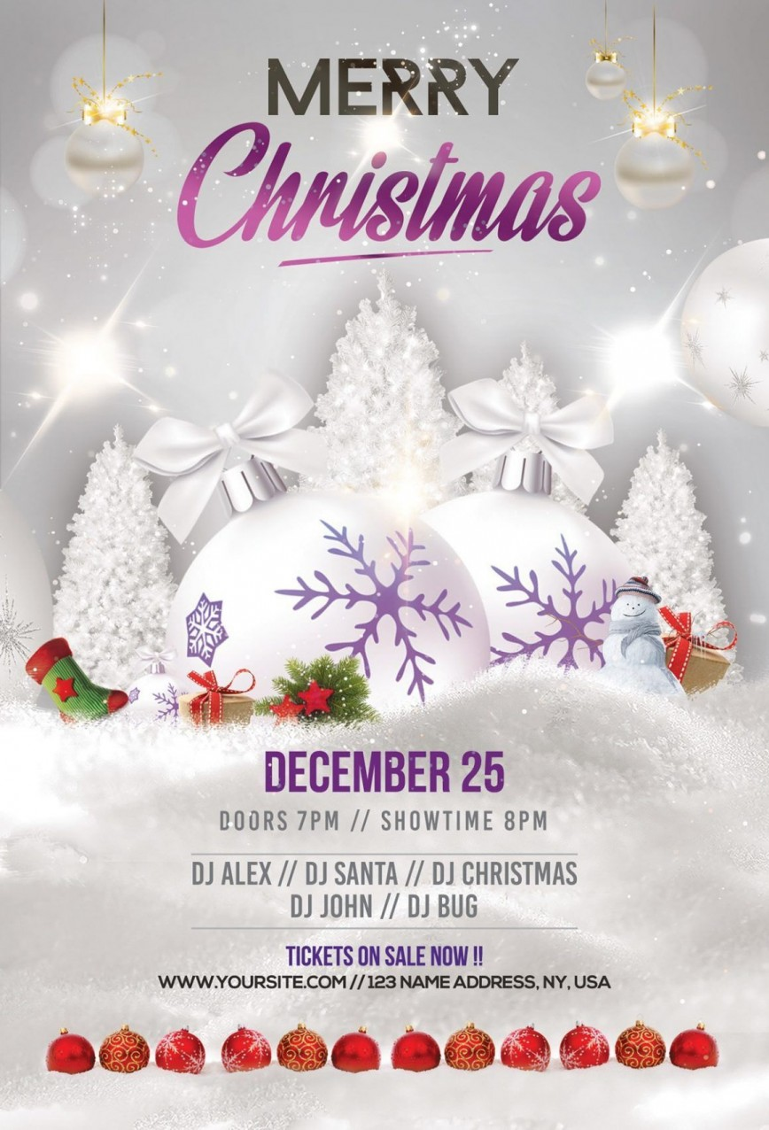 006 Unbelievable Christma Flyer Template Free Concept  Party Download Classy Psd Background