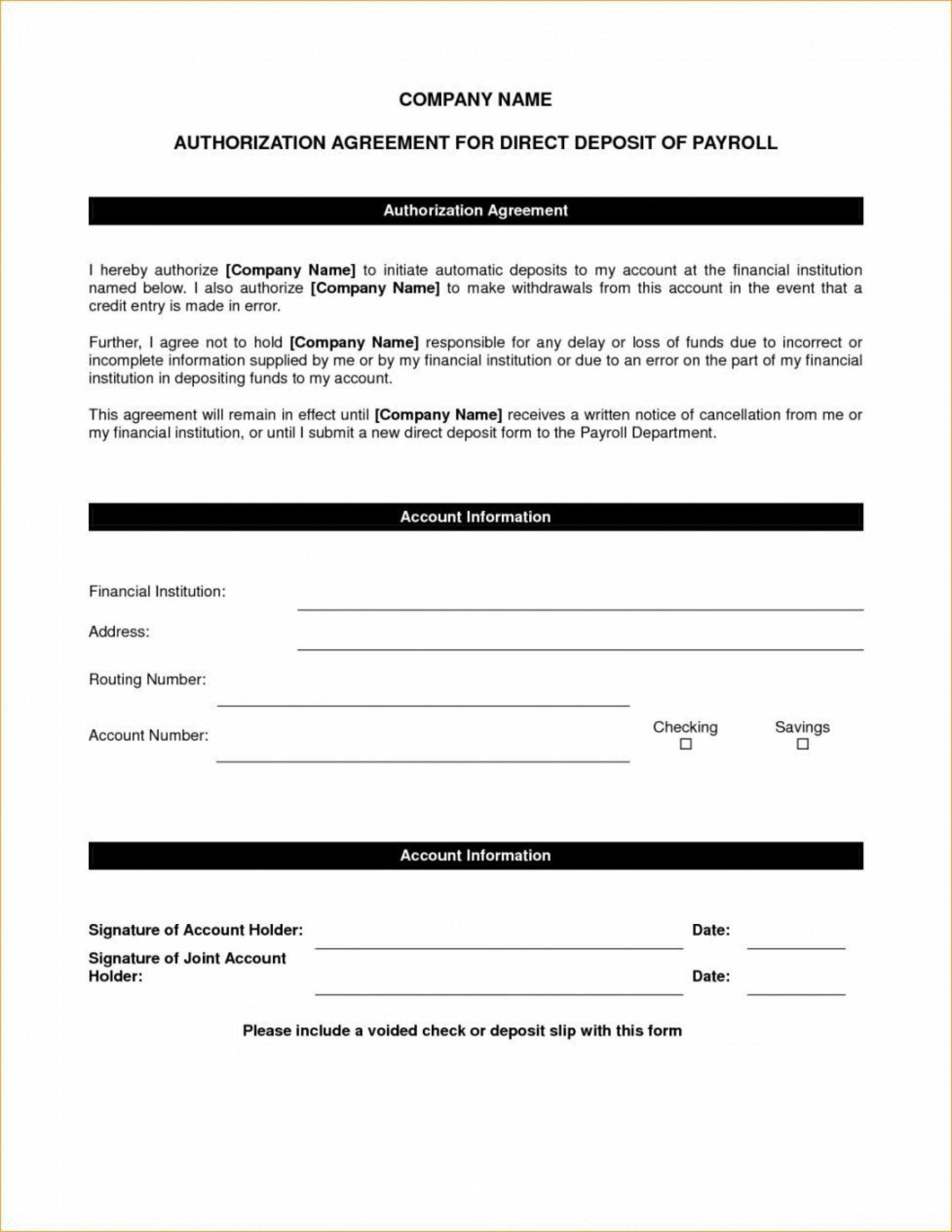 006 Unbelievable Direct Deposit Agreement Authorization Form Template Photo 1920
