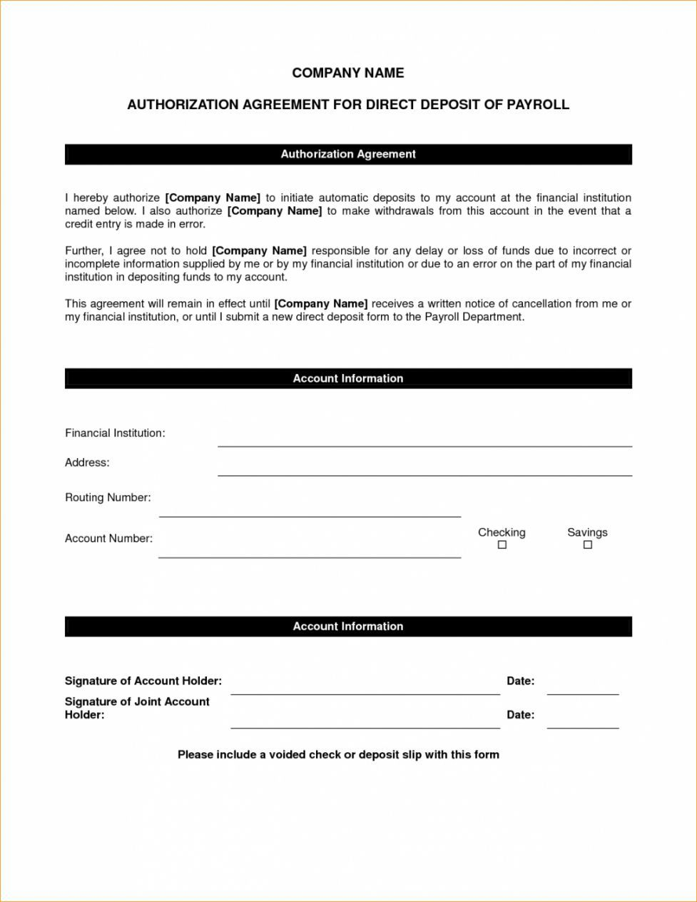 006 Unbelievable Direct Deposit Agreement Authorization Form Template Photo Full