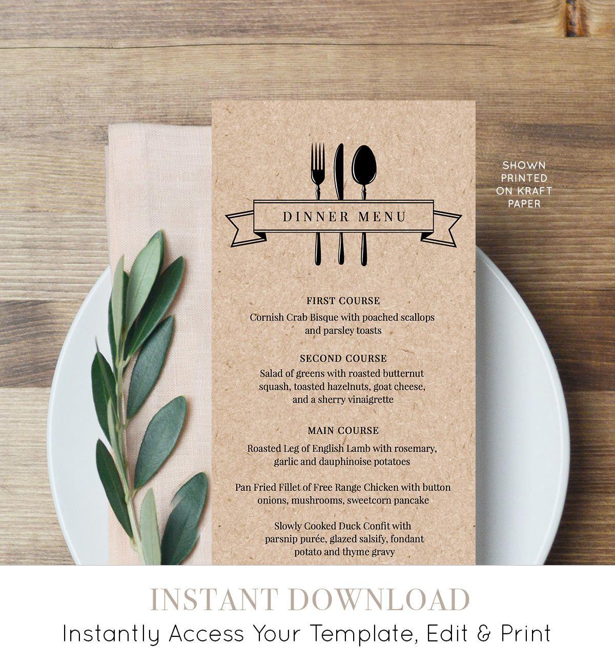006 Unbelievable Diy Wedding Menu Template High Resolution  Free CardFull