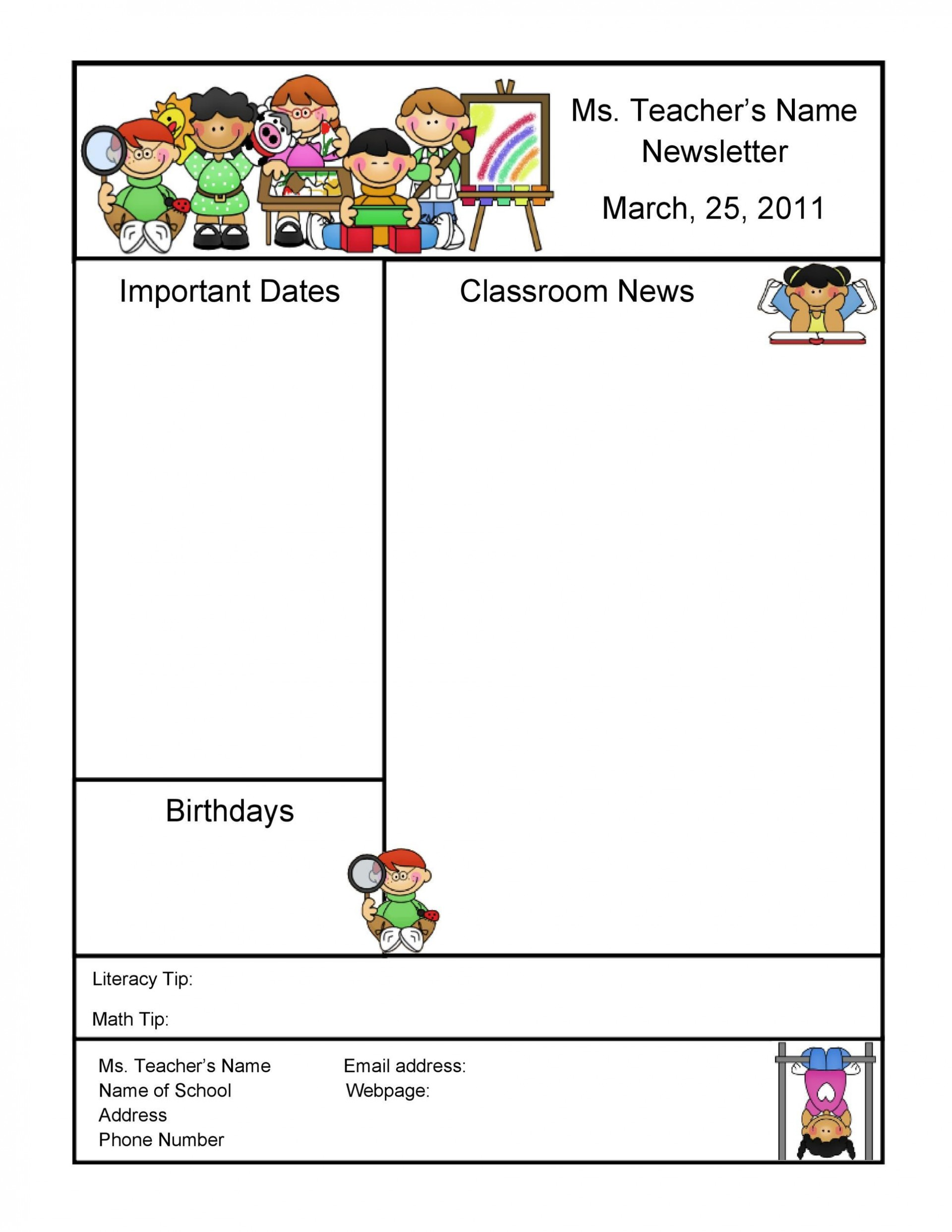 006 Unbelievable Free Newsletter Template For Teacher Sample  Downloadable Editable Preschool1920