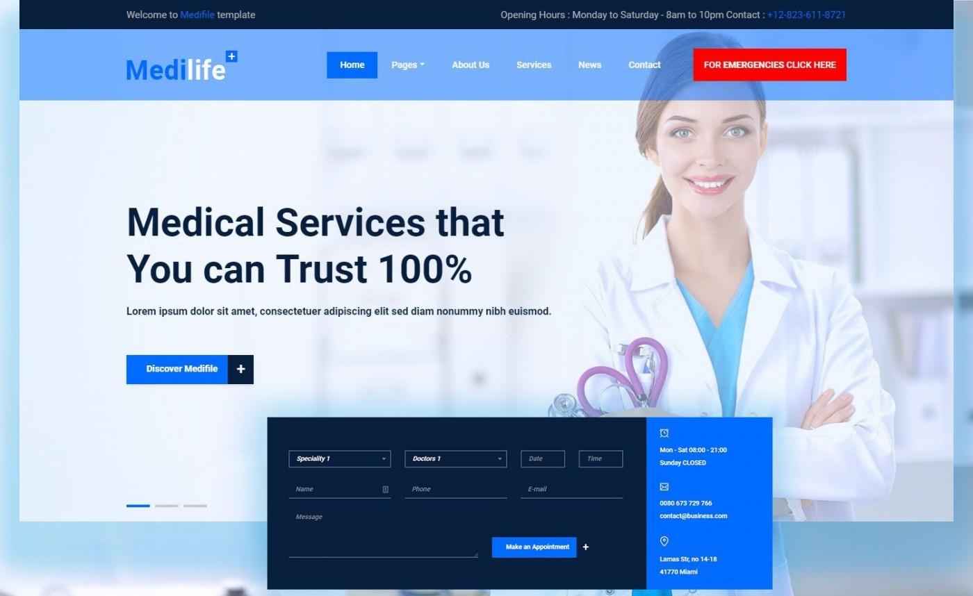 006 Unbelievable Free Website Template Download Html And Cs Jquery For Hospital Concept 1400