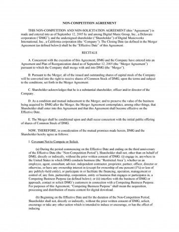 006 Unbelievable Non Compete Agreement Template California Photo 360