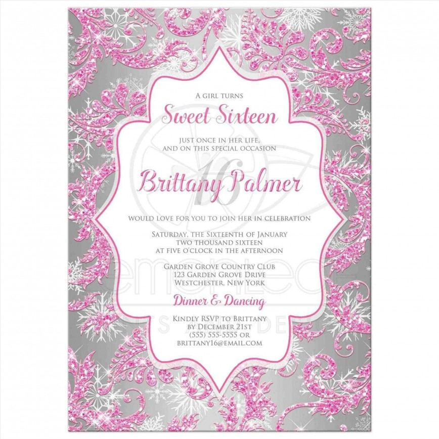 006 Unbelievable Sweet Sixteen Invitation Template Design  Templates Blue 16 Party Free