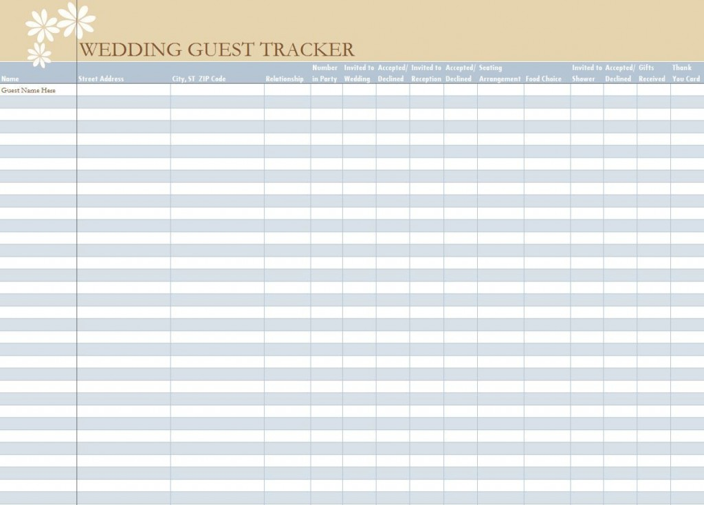 006 Unbelievable Wedding Guest List Excel Spreadsheet Template Picture Large