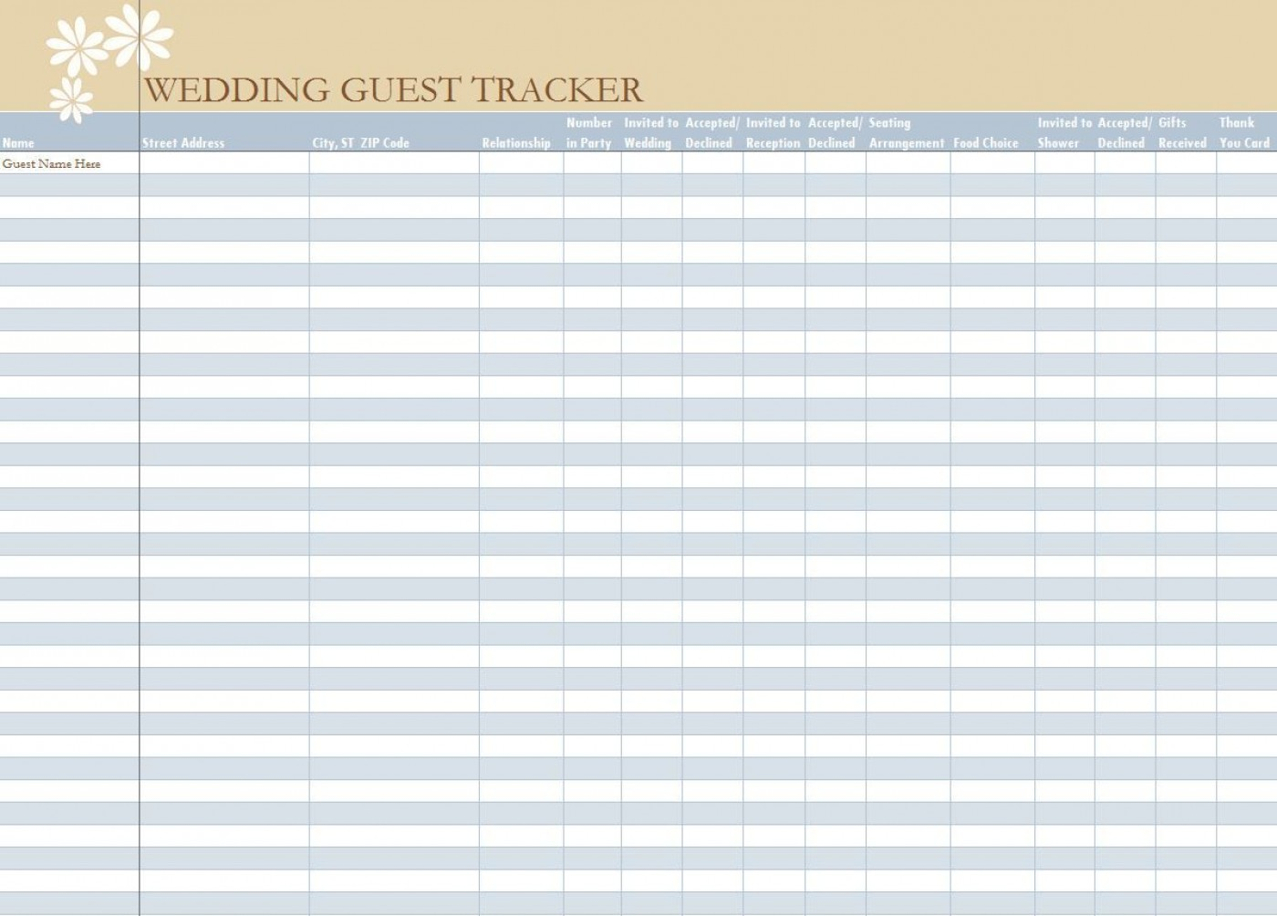 006 Unbelievable Wedding Guest List Excel Spreadsheet Template Picture 1400