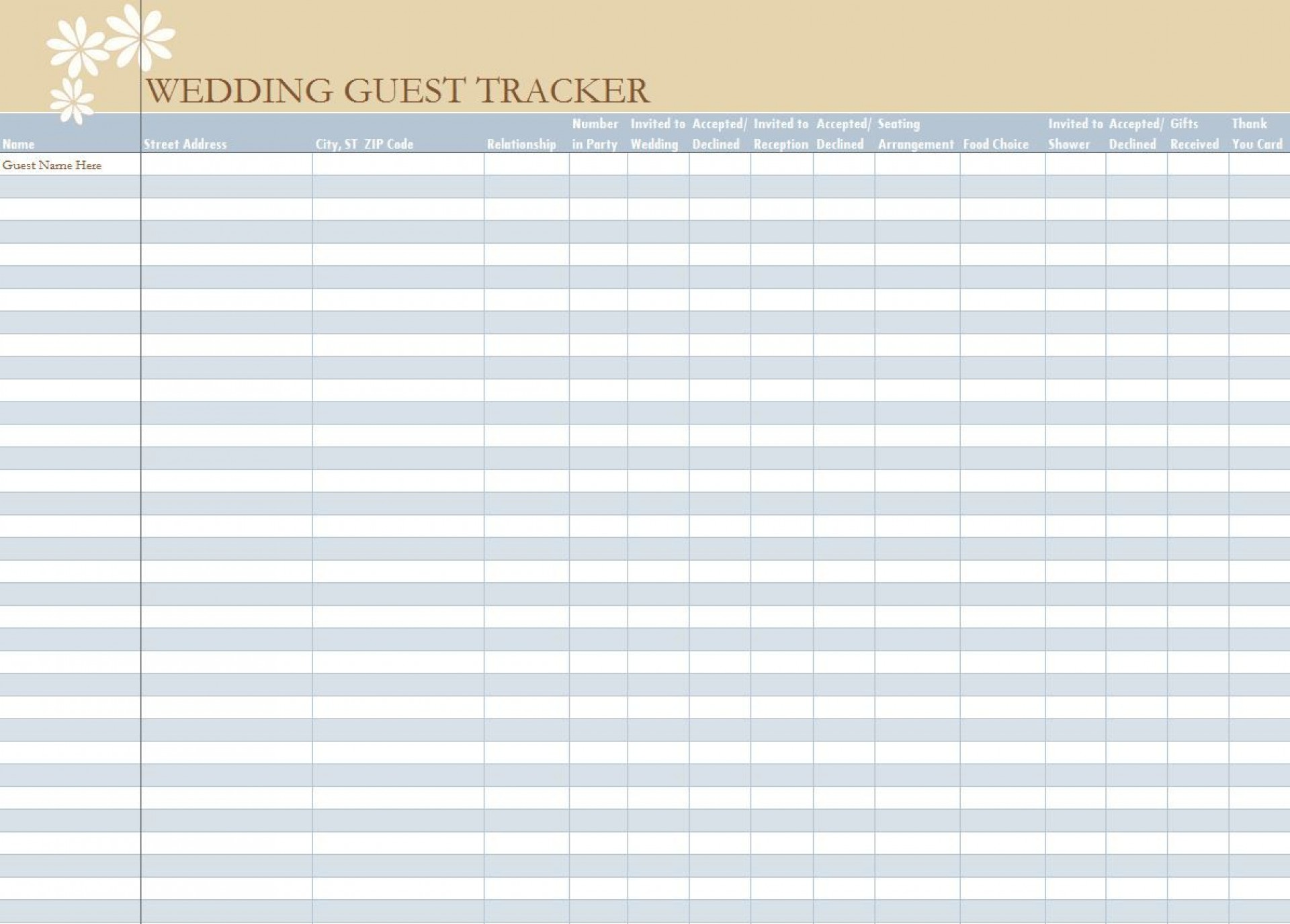 006 Unbelievable Wedding Guest List Excel Spreadsheet Template Picture 1920
