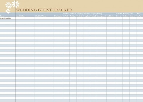 006 Unbelievable Wedding Guest List Excel Spreadsheet Template Picture 480