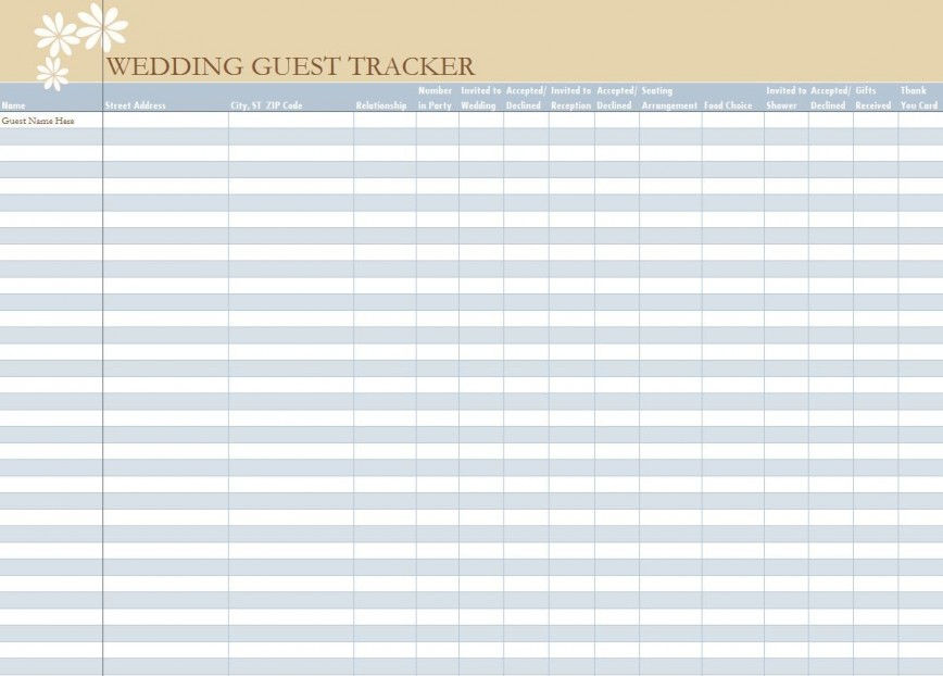 006 Unbelievable Wedding Guest List Excel Spreadsheet Template Picture 868