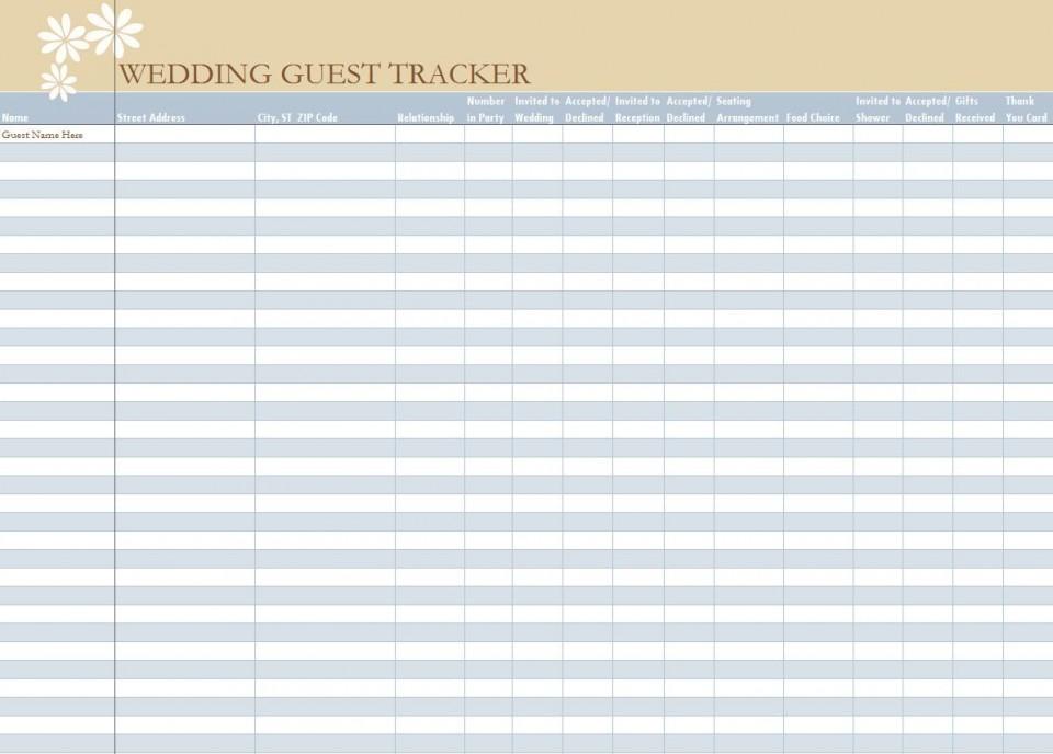 006 Unbelievable Wedding Guest List Excel Spreadsheet Template Picture 960