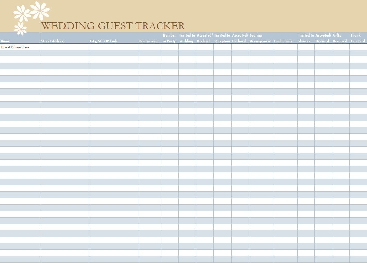 006 Unbelievable Wedding Guest List Excel Spreadsheet Template Picture Full