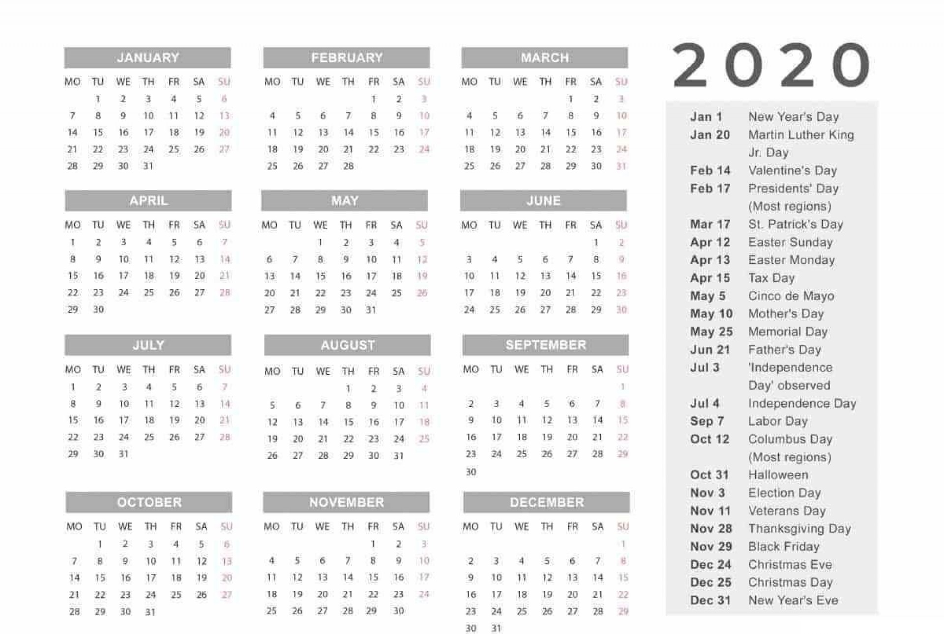 006 Unforgettable 2020 Yearly Calendar Template Image  Word Uk1920