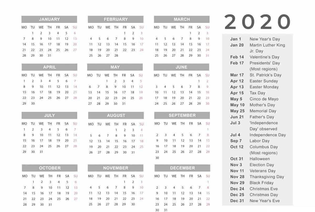 006 Unforgettable 2020 Yearly Calendar Template Image  Word UkFull
