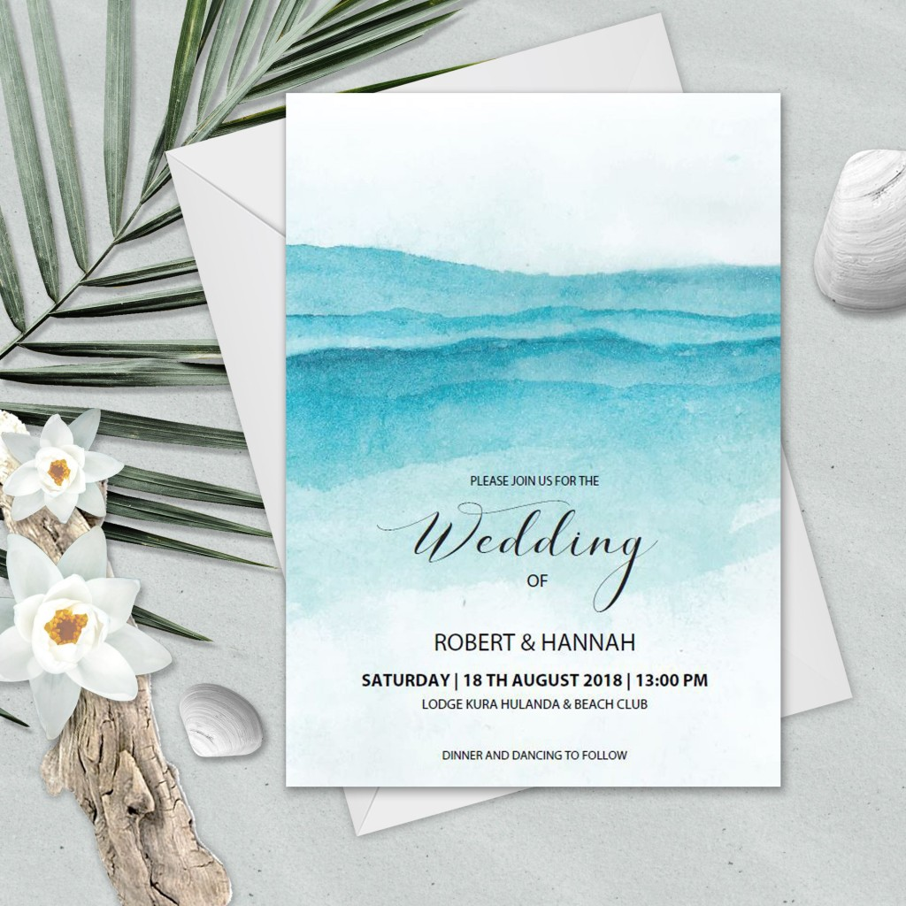 006 Unforgettable Beach Wedding Invitation Template Design  Templates Free Download For WordLarge